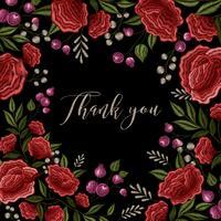 Design floral de fundo de quadro de bordado vetor