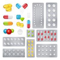 Conjunto de imagens realistas de cápsulas de comprimidos de medicamento vetor