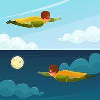Banners horizontais de super-herói de menino voador vetor