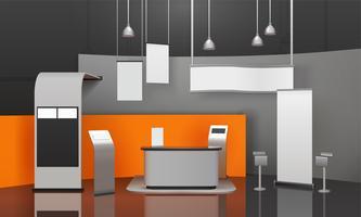 Composição 3D da cabine da exposição vetor