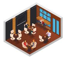 Café Restaurante Isometric Interior vetor