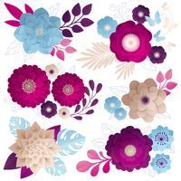 Composições de flores de papel colorido conjunto vetor