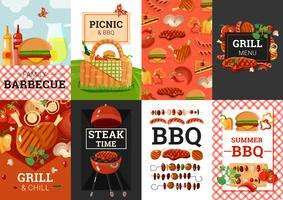 conjunto de banners de churrasco churrasco churrasco vetor