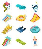 Conjunto de ícones isométrica de parque aquático vetor
