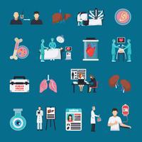Conjunto de ícones decorativos de transplante vetor