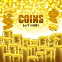 Poster dourado do fundo das economias das moedas vetor