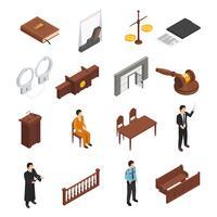 Conjunto de ícones isométrica de justiça de lei