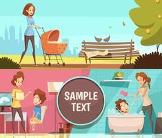 Maternidade 2 Banners Retro dos desenhos animados