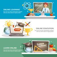 Banners horizontais de educação on-line