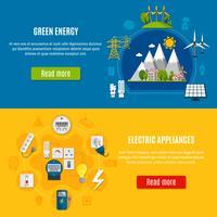 Banners de energia verde e eletrodomésticos