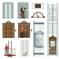 Conjunto de ícones de elevador vetor