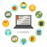 elearning round composition vetor