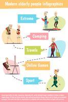 Conjunto de infográfico de pessoas idosas vetor