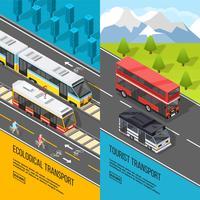 Conjunto de Banners de transporte ecológico vetor