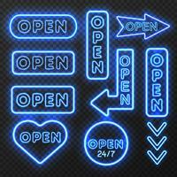 Coleção de sinais abertos de néon