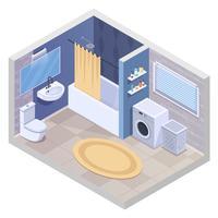 Composição isométrica de casa de banho moderna vetor
