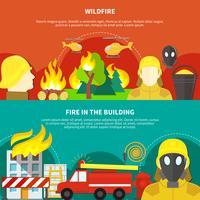 Conjunto de Banners de combate a incêndios vetor