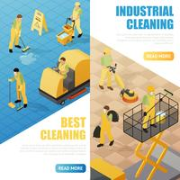 Banners de limpeza industrial vetor