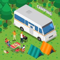 Composição isométrica de acampamento