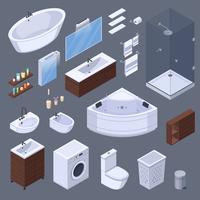 Coleção isométrica de elementos do banheiro