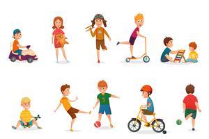 Crianças retrô dos desenhos animados, jogando o conjunto de ícones vetor