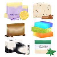 Conjunto realista de sabonete artesanal natural vetor
