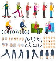 Ícones de construtor ortogonal de pessoas idosas vetor