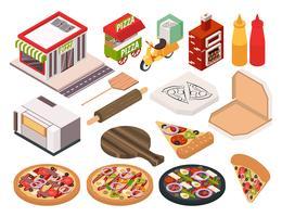 Conjunto de ícones de pizzaria isométrica vetor