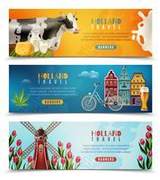 Conjunto de Banners horizontais de viagem de Holanda vetor