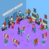 Sala de maquiagem com ilustração isométrica de manequins