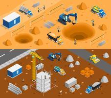 Conjunto de Banners de Site de Construção