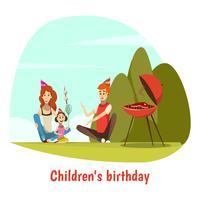 Composição de comemoração de aniversário de crianças