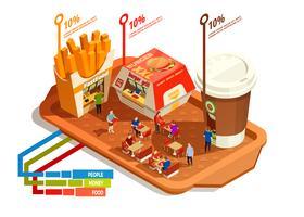Conceito de infográfico de praça de alimentação vetor