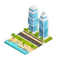 Cidade e praia conceito