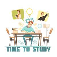 Estudante pensando acima conceito de Design de livro vetor