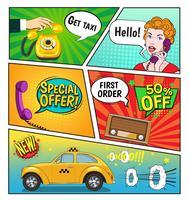 Publicidade da página de quadrinhos de táxi vetor