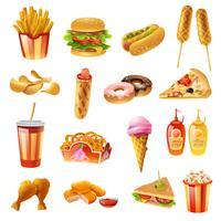 Conjunto de ícones coloridos de Menu de fast-food