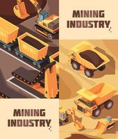 Conjunto de Banners verticais de mineração