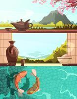 Conjunto de Banners retrô dos desenhos animados de Japão vetor