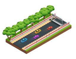 Composição isométrica Speedway Gaming vetor