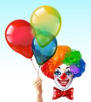 Cara de palhaço com balões ícone brilhante vetor