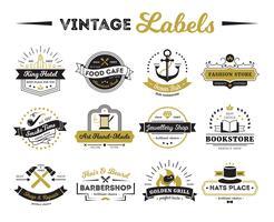Lojas e etiquetas do vintage do café vetor