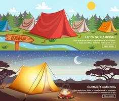 Banners horizontais de acampamento vetor