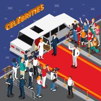 Celebridades na composição isométrica de tapete vermelho