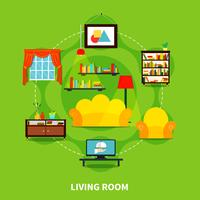 Design de sala de estar vetor