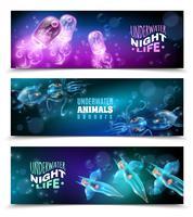 Conjunto de Banners horizontais coloridas debaixo d'água