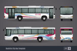 Imagens realistas coloridas de ônibus da cidade vetor
