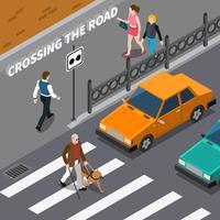 Pessoa cega na ilustração isométrica de faixa de pedestres vetor