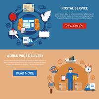 Banners de estilo plano de serviço postal