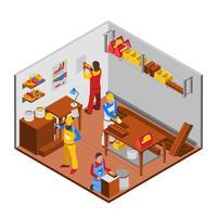 Conceito de oficina de carpintaria vetor